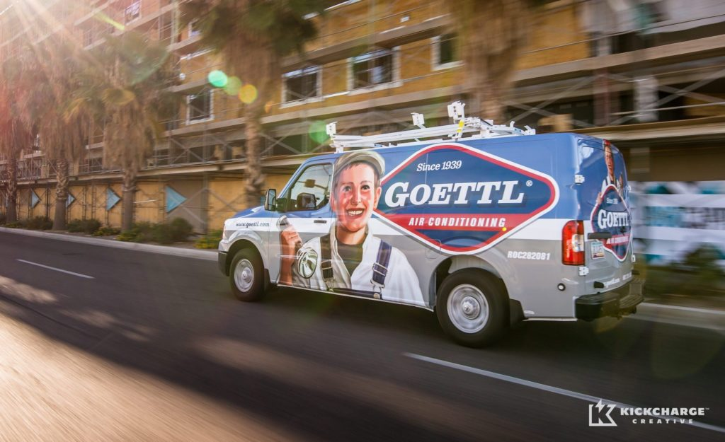 This innovative HVAC truck wrap uses a hand rendered illustration in the design.