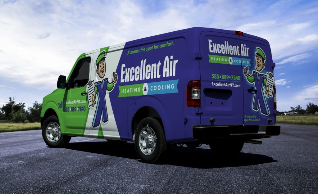 Truck wrap design for Excellent Air Heating & Cooling, an HVAC contractor in Scottsville, NY.