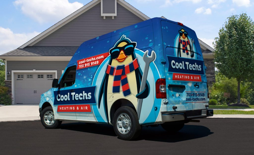 Truck wrap design for Cool Techs, a Linden, VA-based heating & air company.
