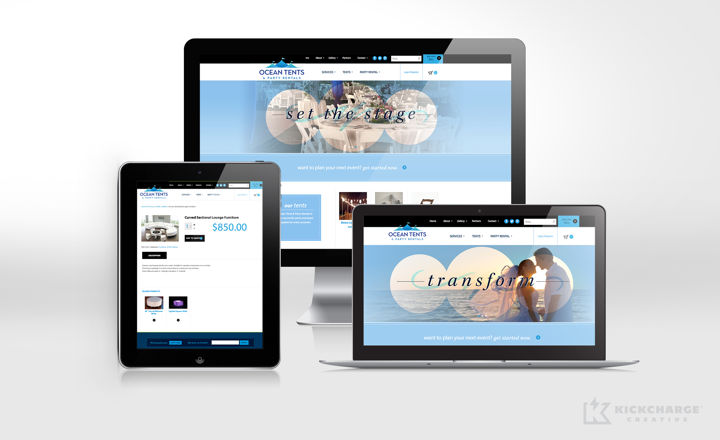 Website design for Ocean Tents, an entertainment and party rental company in New Jersey.