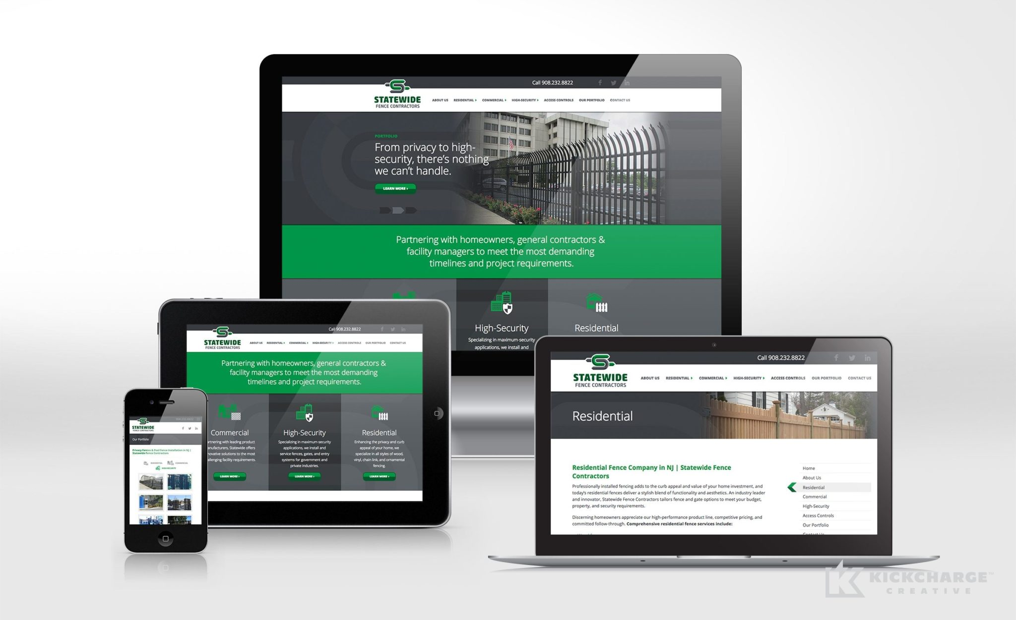 Website design for Statewide Fence Contractors.