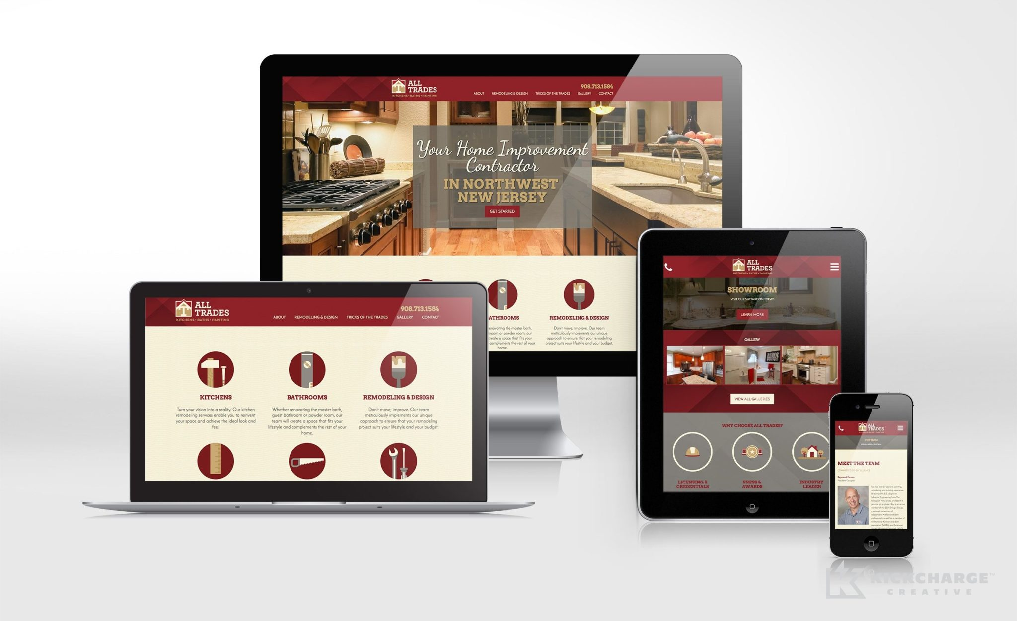Website design for this NJ-based kitchen, bath and painting contractor.