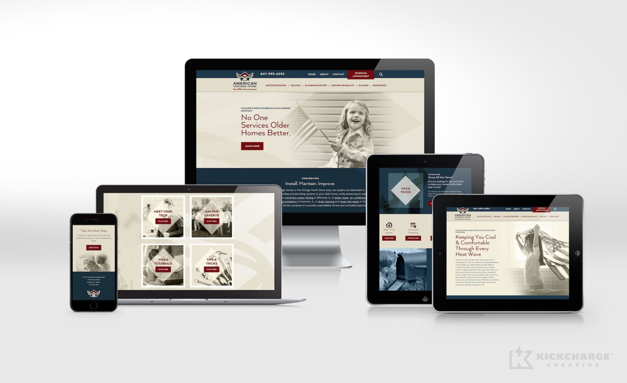 Website design for American Vintage Home, an Illinois-based HVAC contractor.