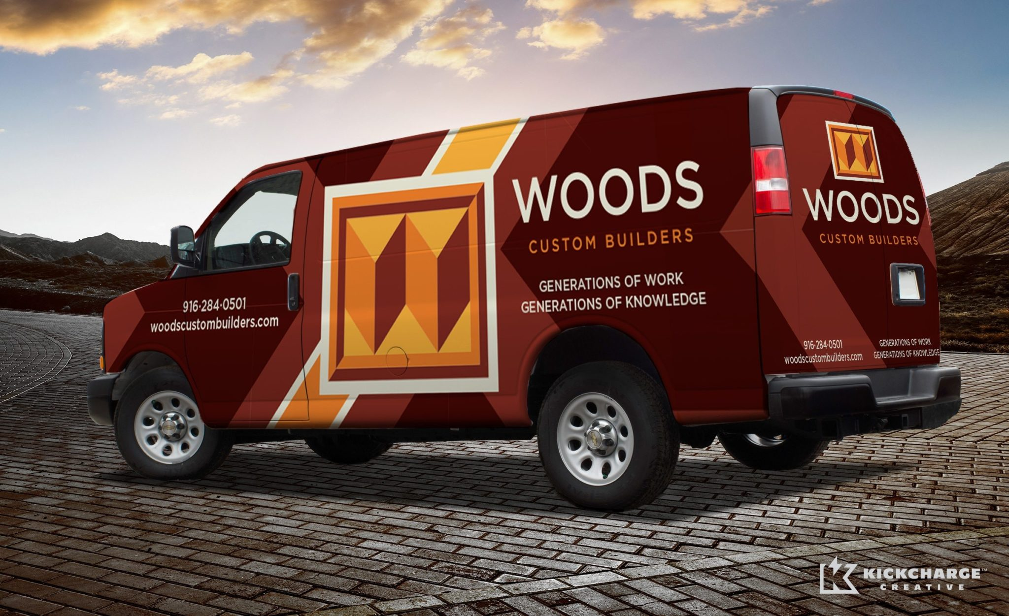 Woods Custom Builders vehicle wrap design for a home improvement company serving Sacramento, California.