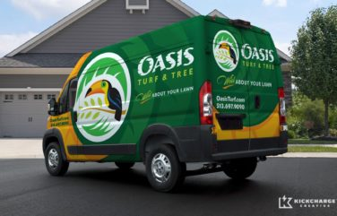 "Award winning truck wrap design for Oasis Turf and Tree, based in Ohio. This award-winning truck wrap design was the winner of the 2014 ""(Up)fit for Success"" contest, sponsored by Mercedes-Benz Sprinter and Inc."