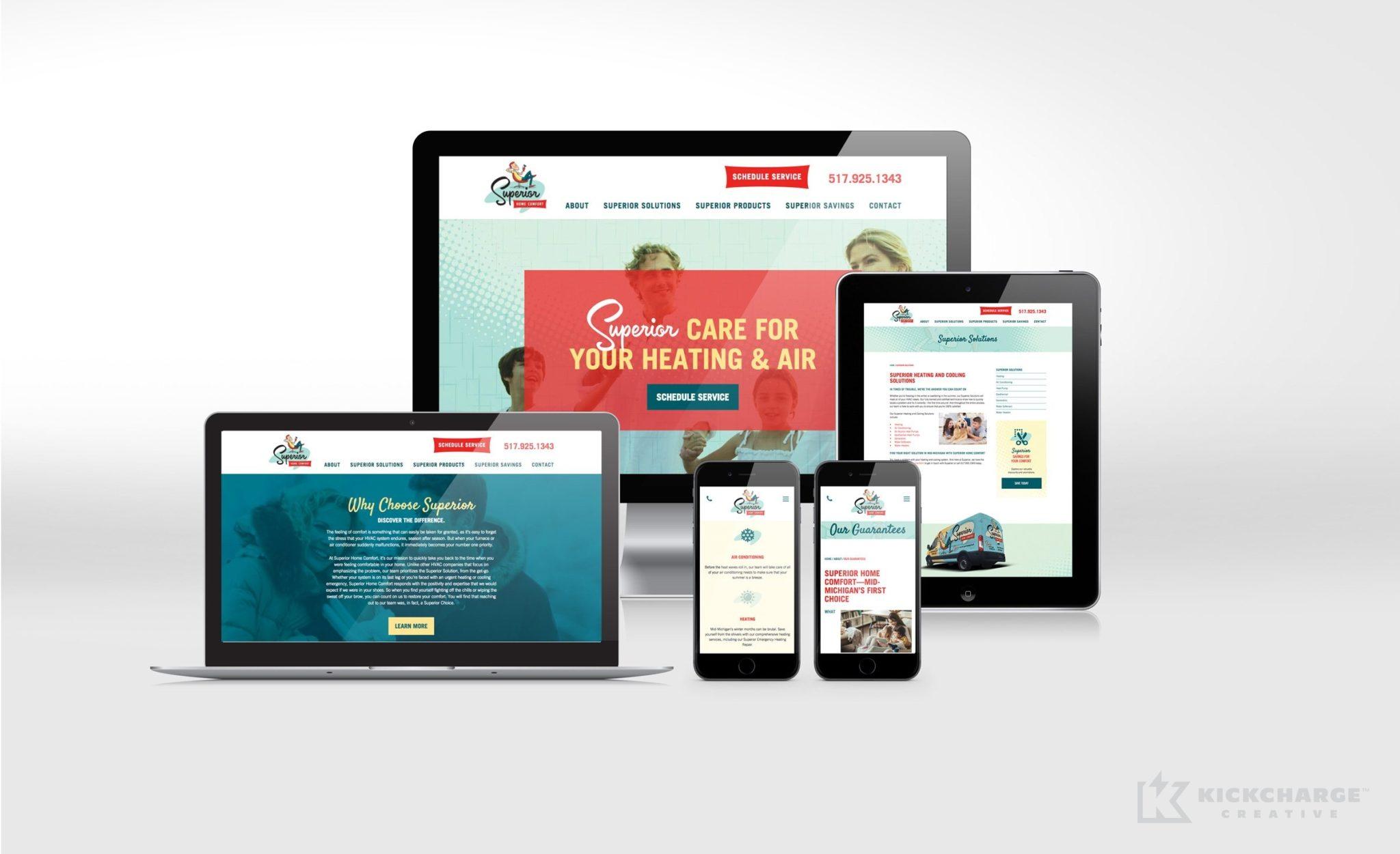 Website design for Superior Home Comfort.