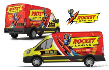 Vehicle wrap design for Rocket Drains.