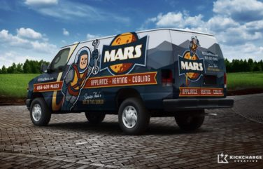 This vehicle wrap design for an appliance repair and HVAC business in Tennessee is out of this world.