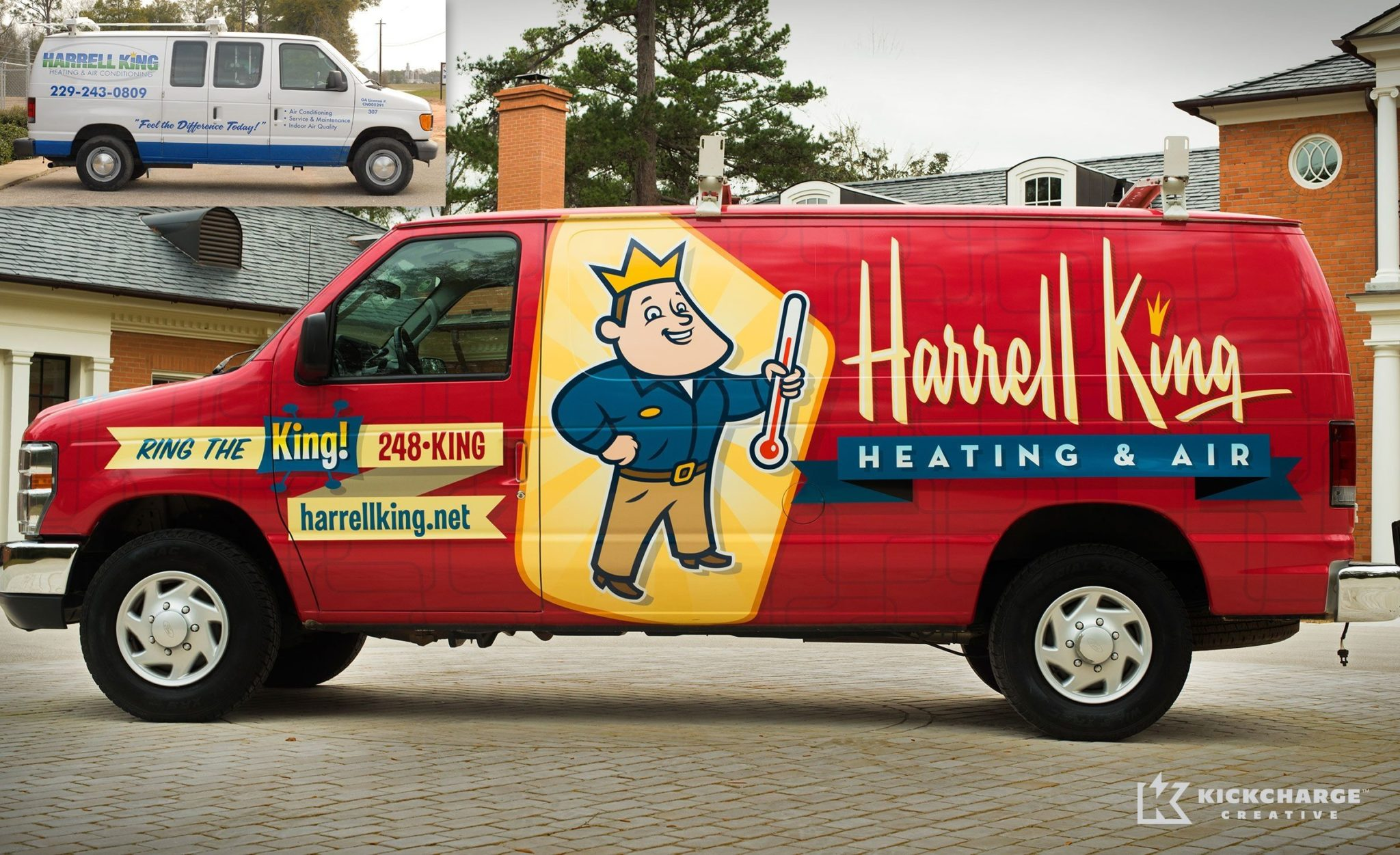 Before & after truck wrap design for a heating and air contractor in Georgia.