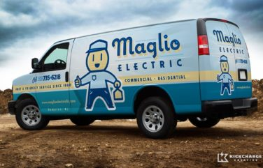 After designing the logo for this Hampton, NJ electrician, we then designed their vehicles. Can you find the hidden outlet?