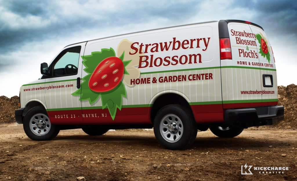 Simple but effective brand messaging make for a unique and memorable wrap for this Wayne, NJ garden center.