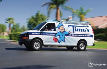 Vehicle wrap design for Timo's Air Conditioning & Heating.