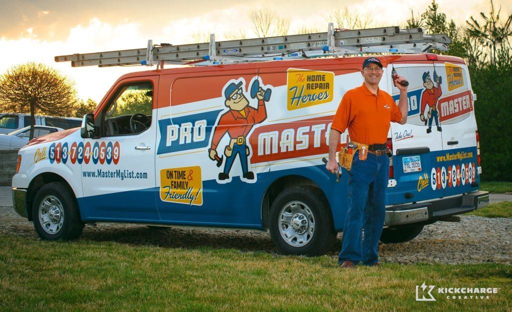 One of our best truck examples which illustrate the important of branding holistically - from the uniforms all the way through the truck wrap design. This is an amazing handyman company in Ohio.