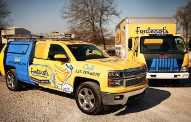 Fontenot's retro-style vehicle wrap instantly conveys the message that the business runs decades deep—and that it is a company that consumers can trust.