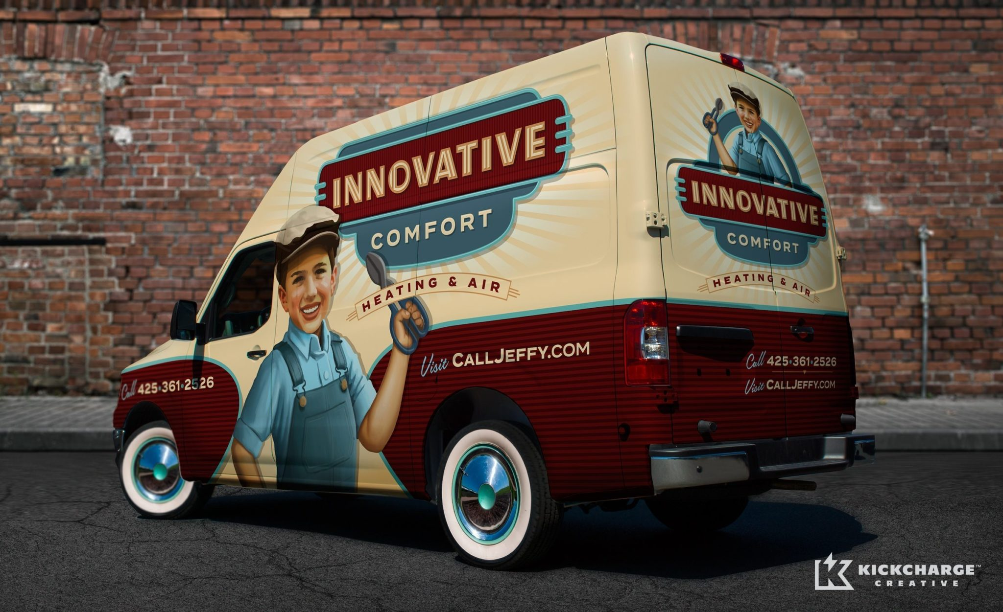 For their vehicle wrap, Innovative Comfort Heating & Air taps into the power of nostalgia to stand out in a saturated market.
