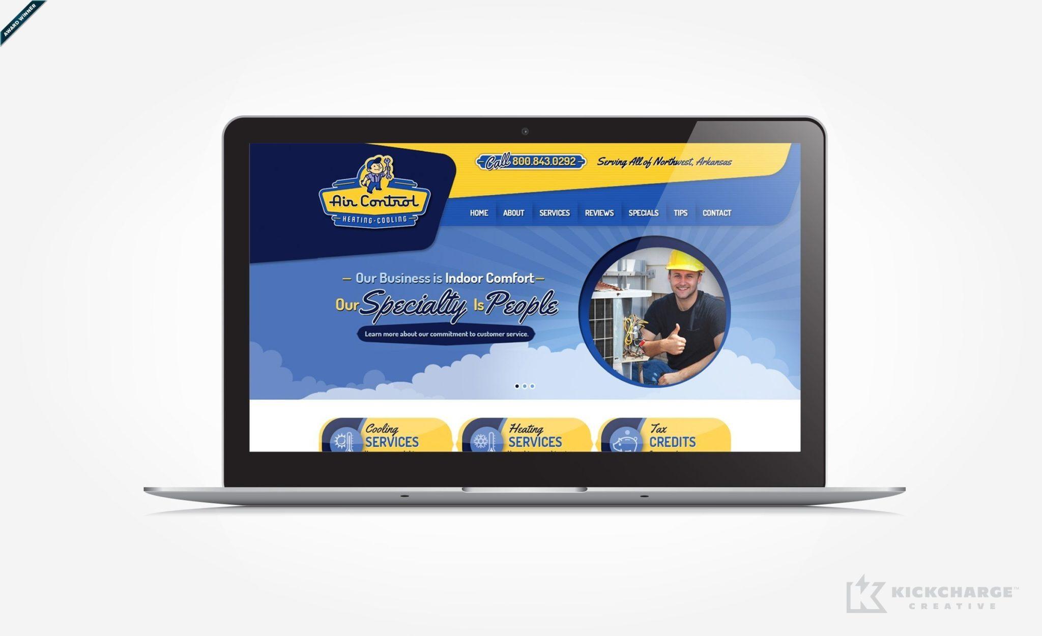 Web design for a HVAC contractor located in Springdale, AR. Award winning design - Graphic Design USA 2014 American Web Design Awards.