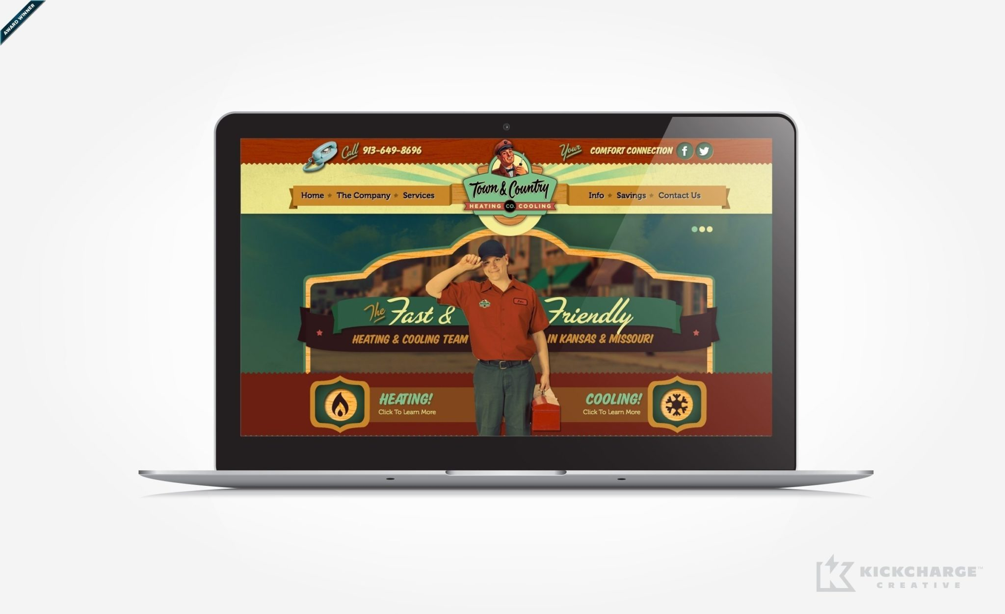 Web design for a heating and air conditioning contractor located in KS. Award winning design - Graphic Design USA 2014 American Web Design Awards.