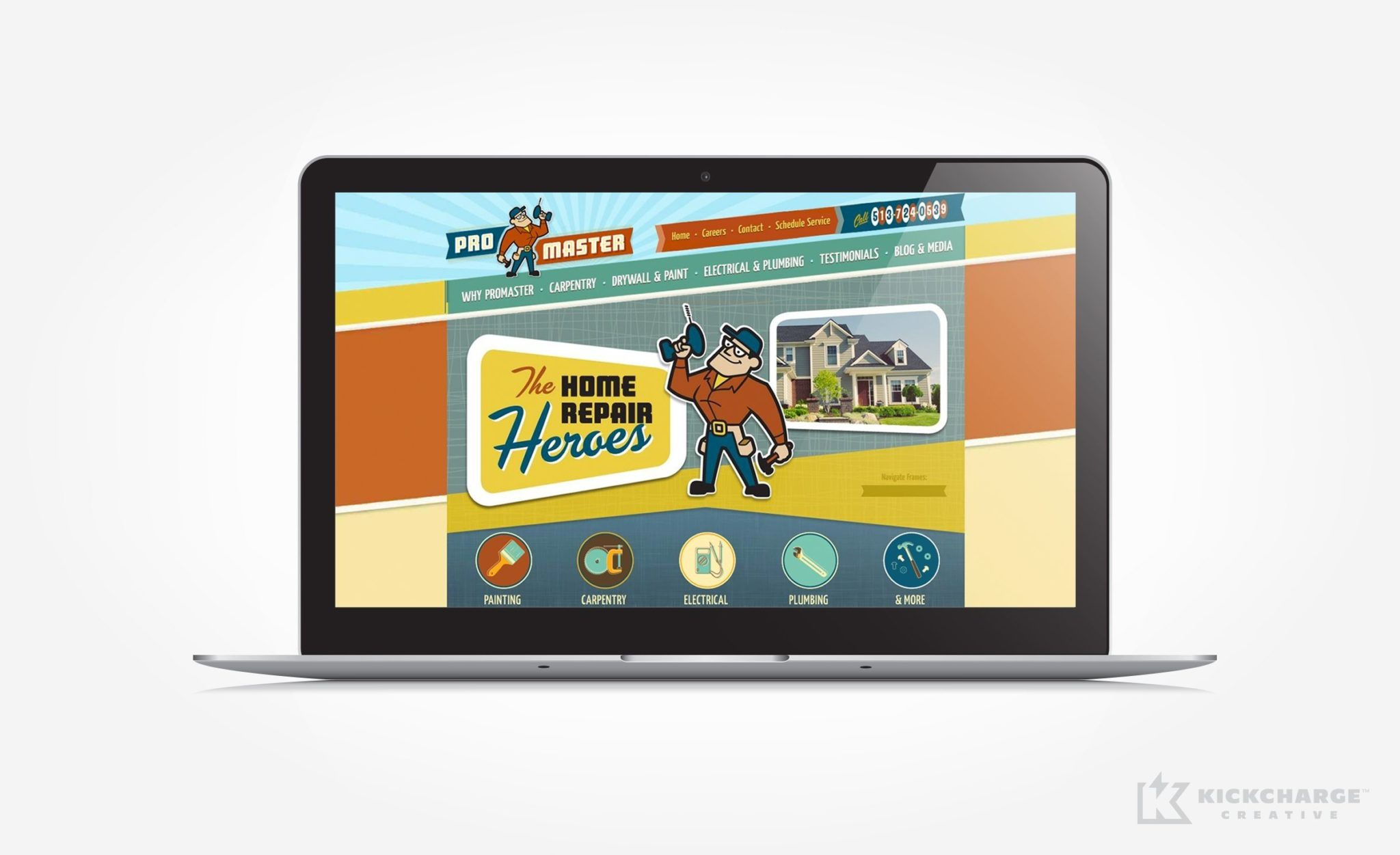 Website design for ProMaster Home Repair.