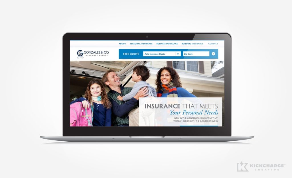 Web design for an insurance company in New Jersey.