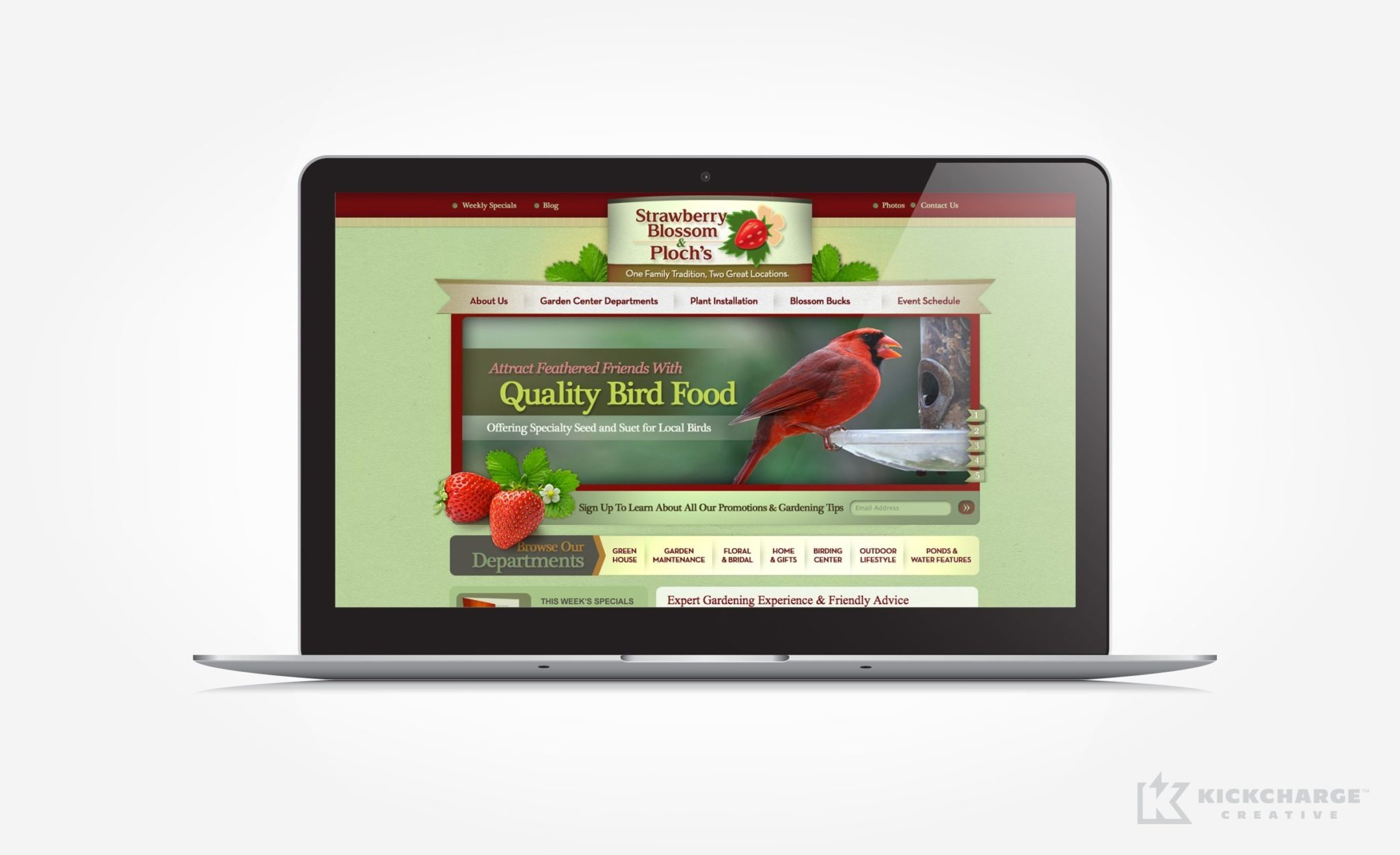 Web design for home and garden center that has two large retail locations in New Jersey.