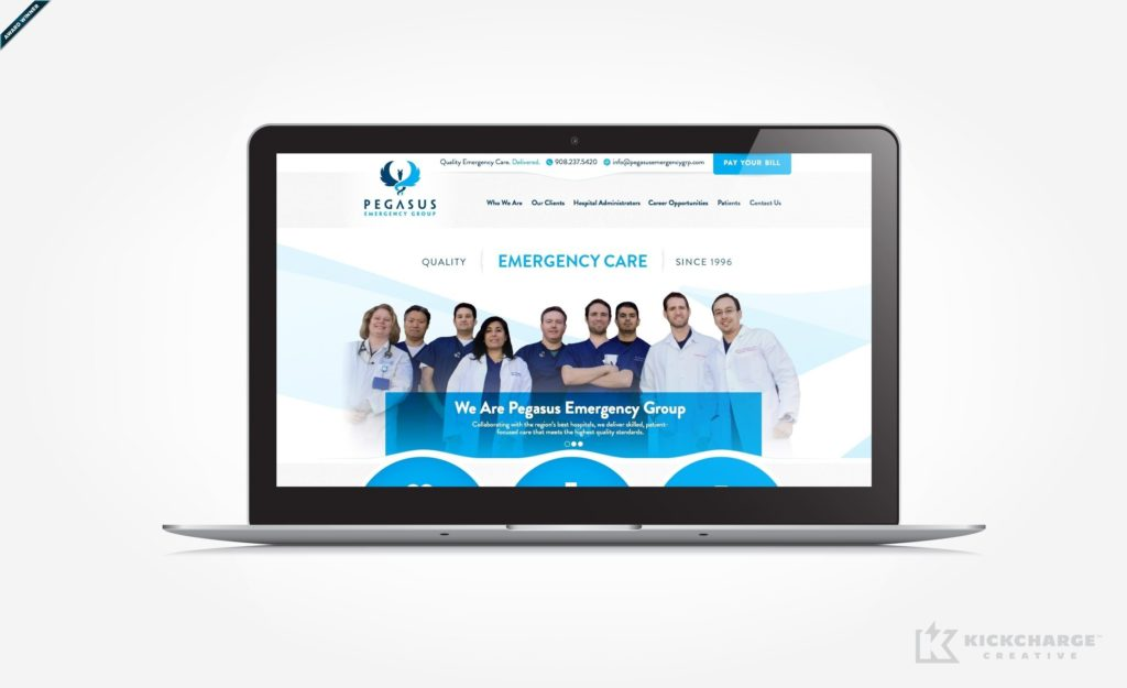 Web design for emergency care services located in Flemington, NJ. Award winning design - Graphic Design USA 2014 American Web Design Awards.