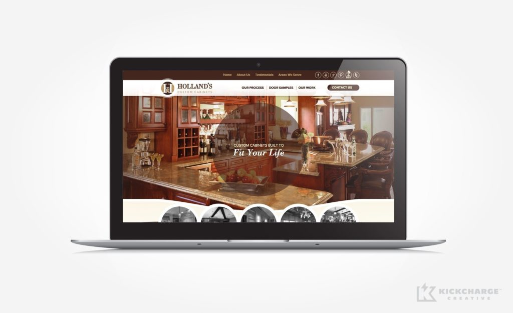 Web design for a kitchen cabinet company in San Diego.