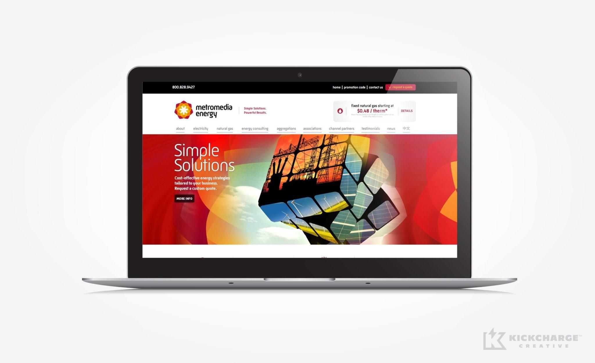 Website design for Metromedia Energy.