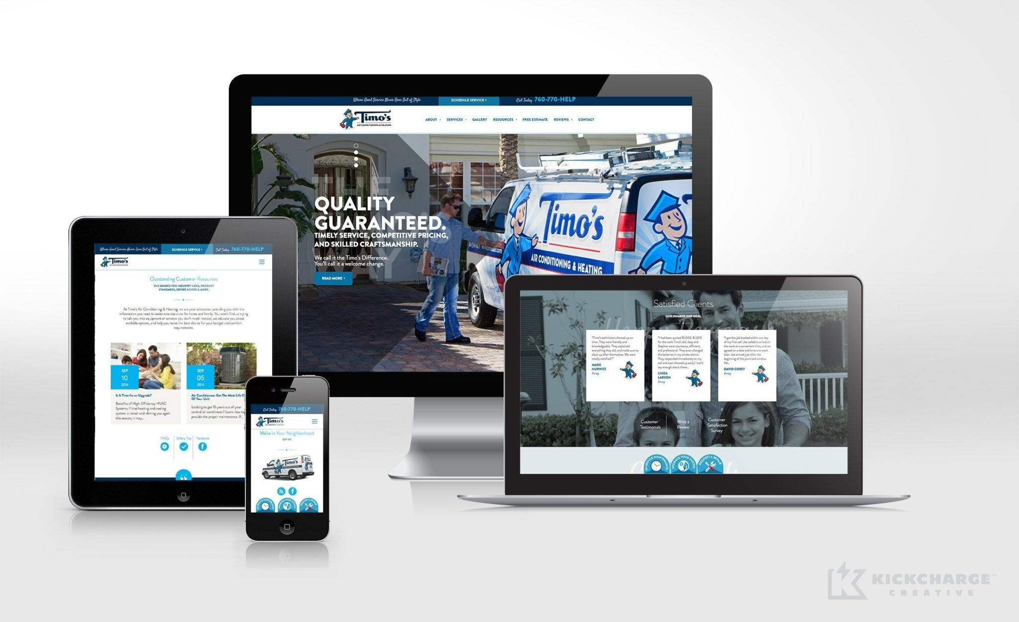 Responsive website design for Timo's Air Conditioning & Heating, an HVAC company in California.