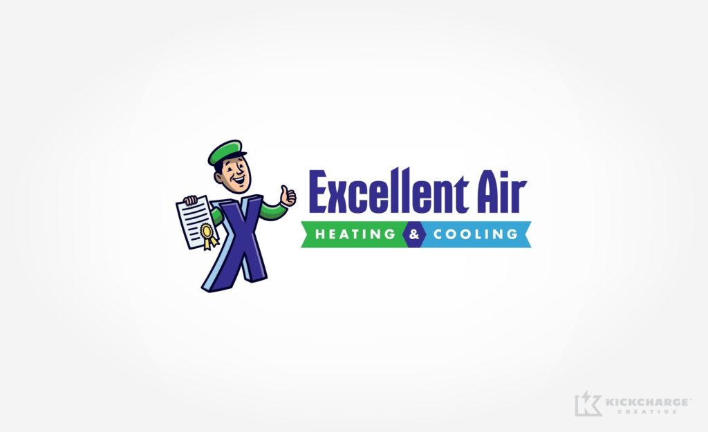 Logo design for Excellent Air Heating & Cooling, an HVAC contractor in Scottsville, NY.