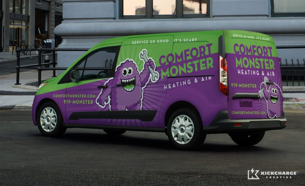 The best vehicle wraps use simple, easy-to-read graphics to evoke a strong brand promise to customers, as this wrap for Comfort Monster shows.