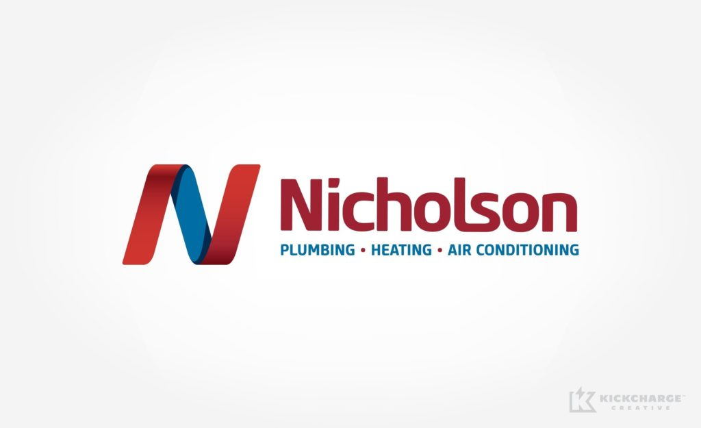 Logo design for Nicholson Plumbing, Heating & Air Conditioning in Massachusetts.