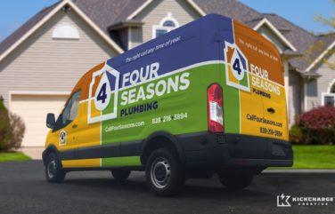 Vehicle wrap design for Four Seasons Plumbing.