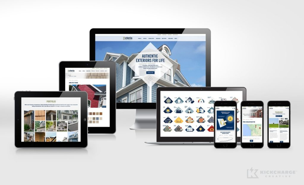 Responsive website design and development for Exteria Building Products.