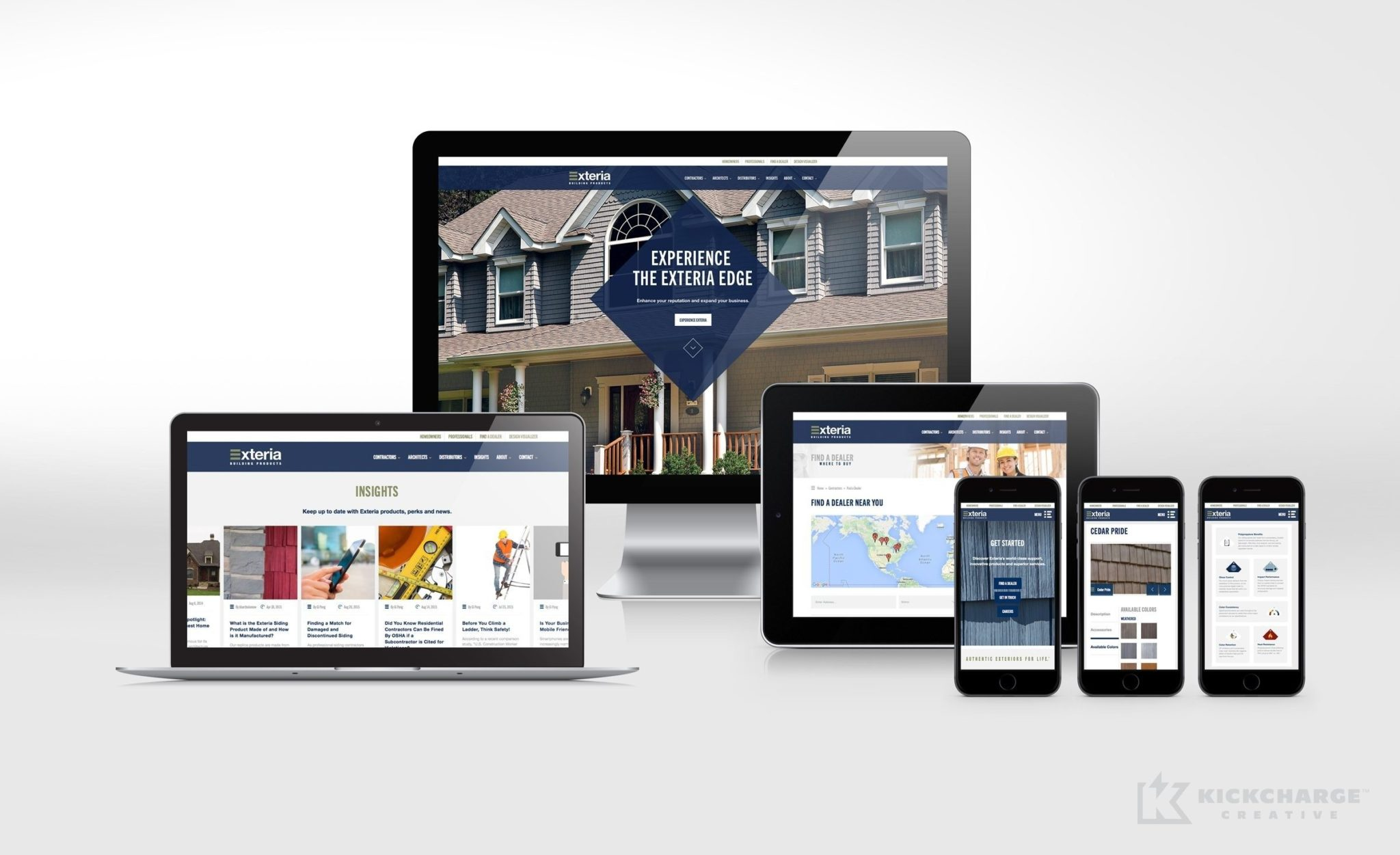 Website design and development for Exteria Building Products' professional partners.