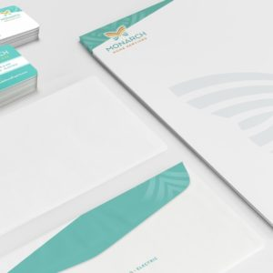 Stationery design for Monarch Home Services located in California.