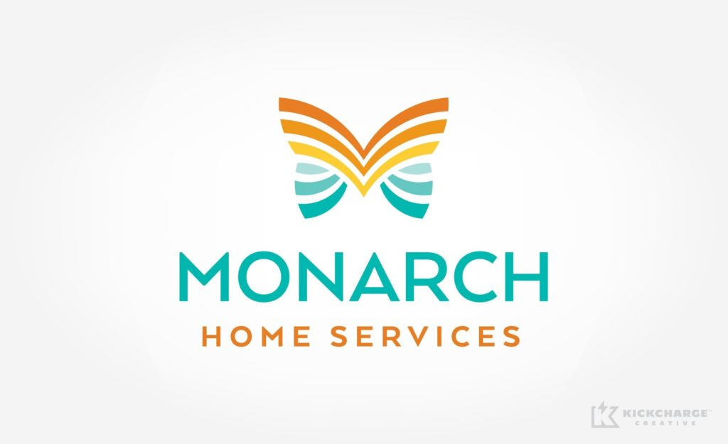 Unique logo design for Monarch Home Services located in California.