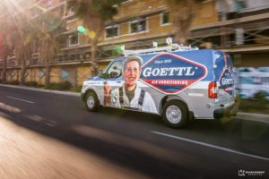 The best vehicle wraps use simple, easy-to-read graphics, as this wrap for Goettl Air Conditioning shows.