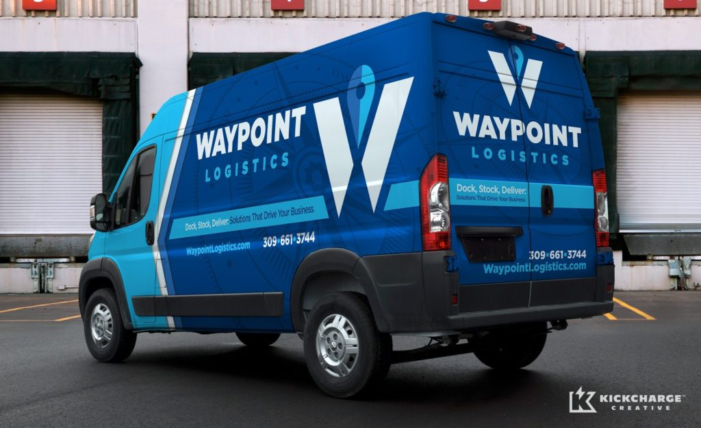 The best vehicle wraps use simple, easy-to-read graphics that capture the eye of consumers, as this wrap for Waypoint Logistics shows.