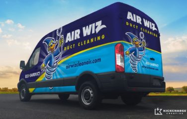 The best vehicle wraps use simple, easy-to-read graphics, as this wrap for Air Wiz Duct Cleaning shows.