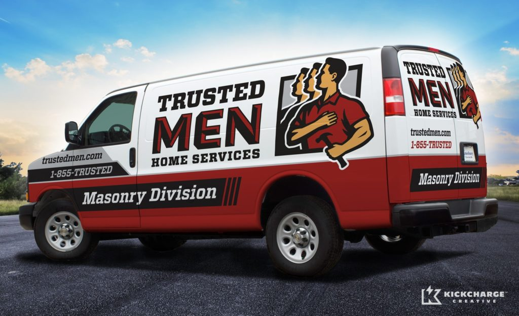 The best vehicle wraps use simple, easy-to-read graphics, as this wrap for Trusted Men Home Services: Masonry Division shows.