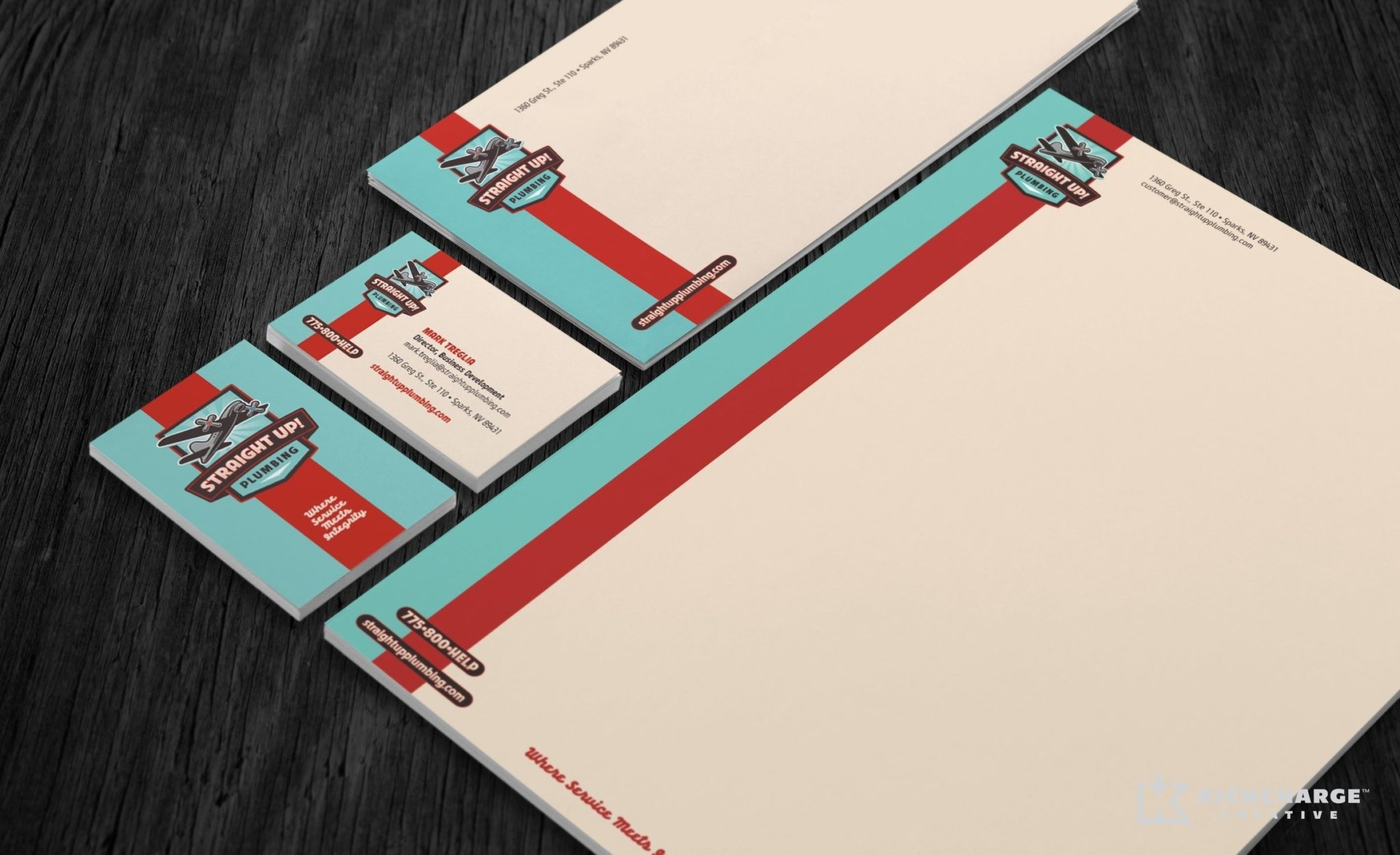 Stationery design for a plumbing company in Nevada.