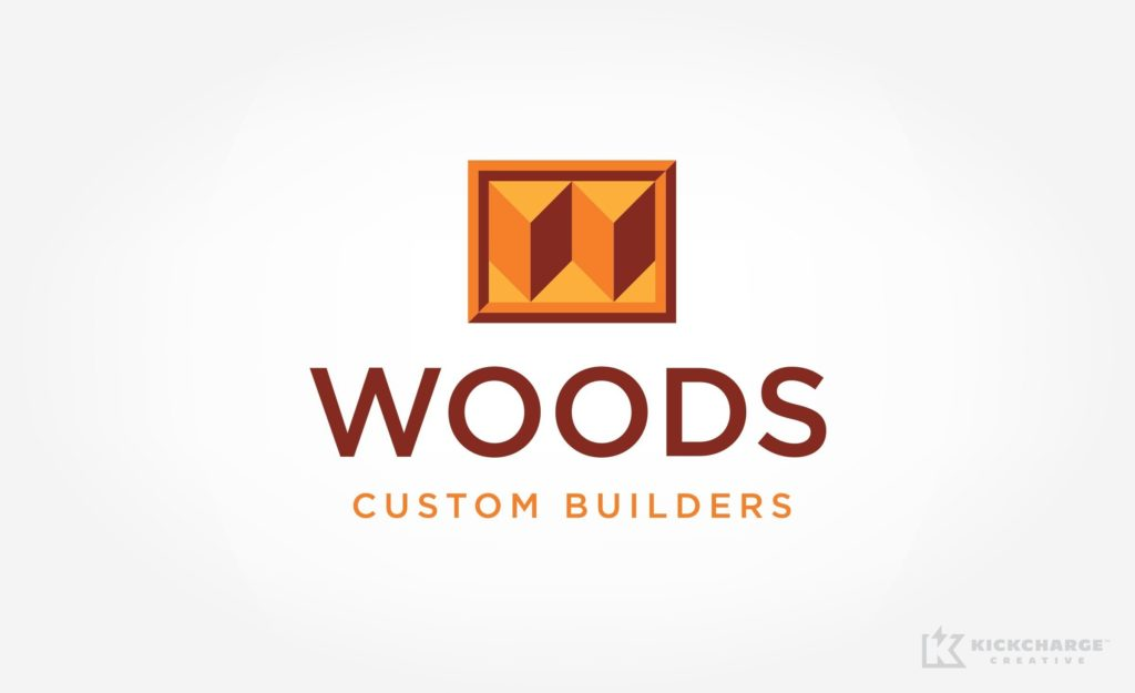Woods Custom Builders logo design for a home improvement company serving Sacramento, California.
