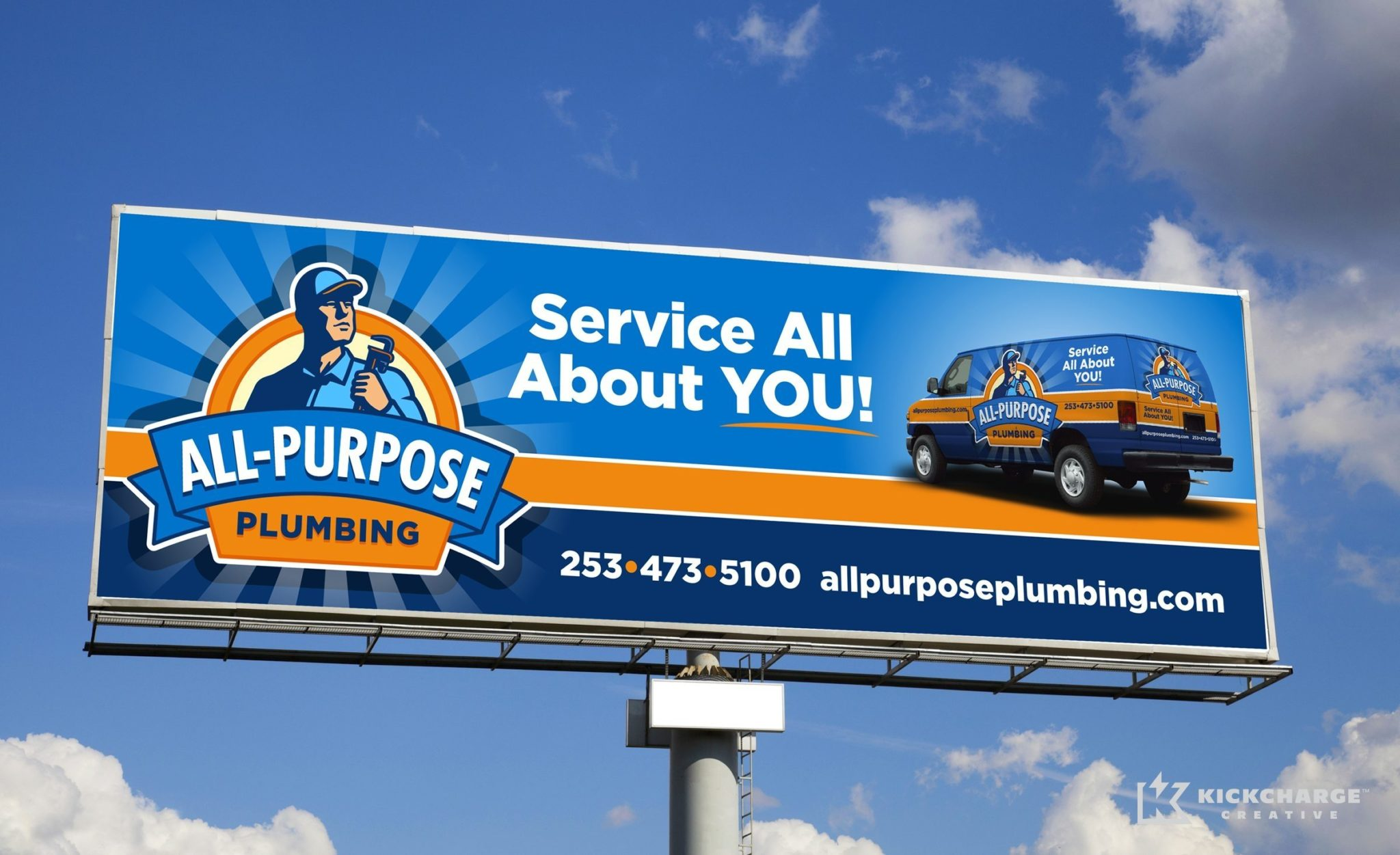 Billboard design for a plumbing company in Tacoma, WA.