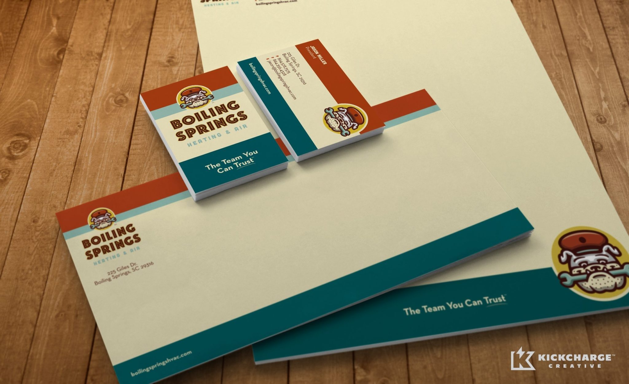 HVAC stationery design and branding for this mechanical contractor in Boiling Springs, SC.