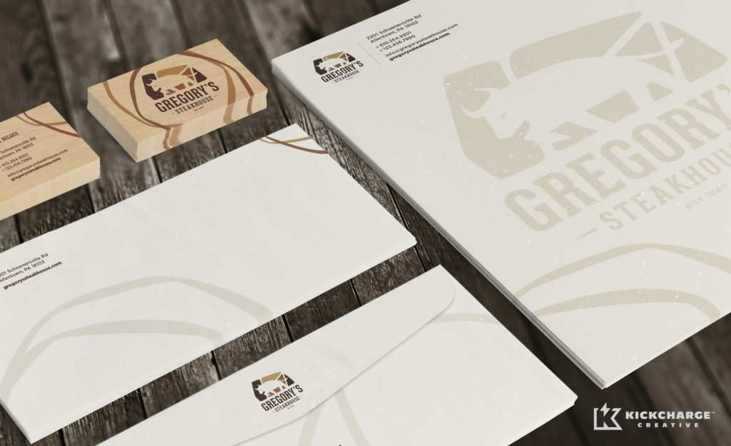 Gregory's Steakhouse stationery design for a restaurant in Allentown, Pennsylvania.