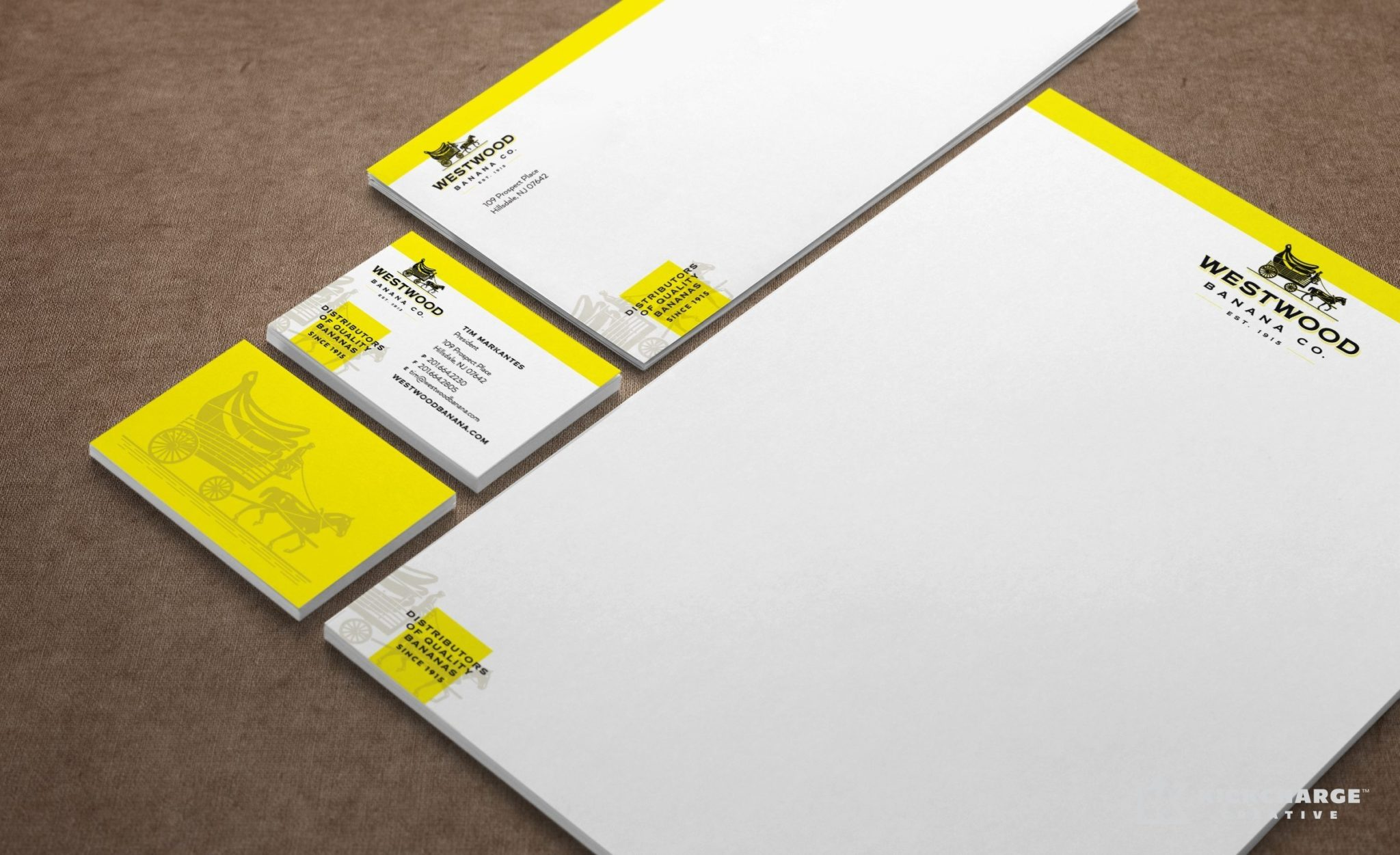 Stationery design for a wholesale banana distributor in New Jersey.