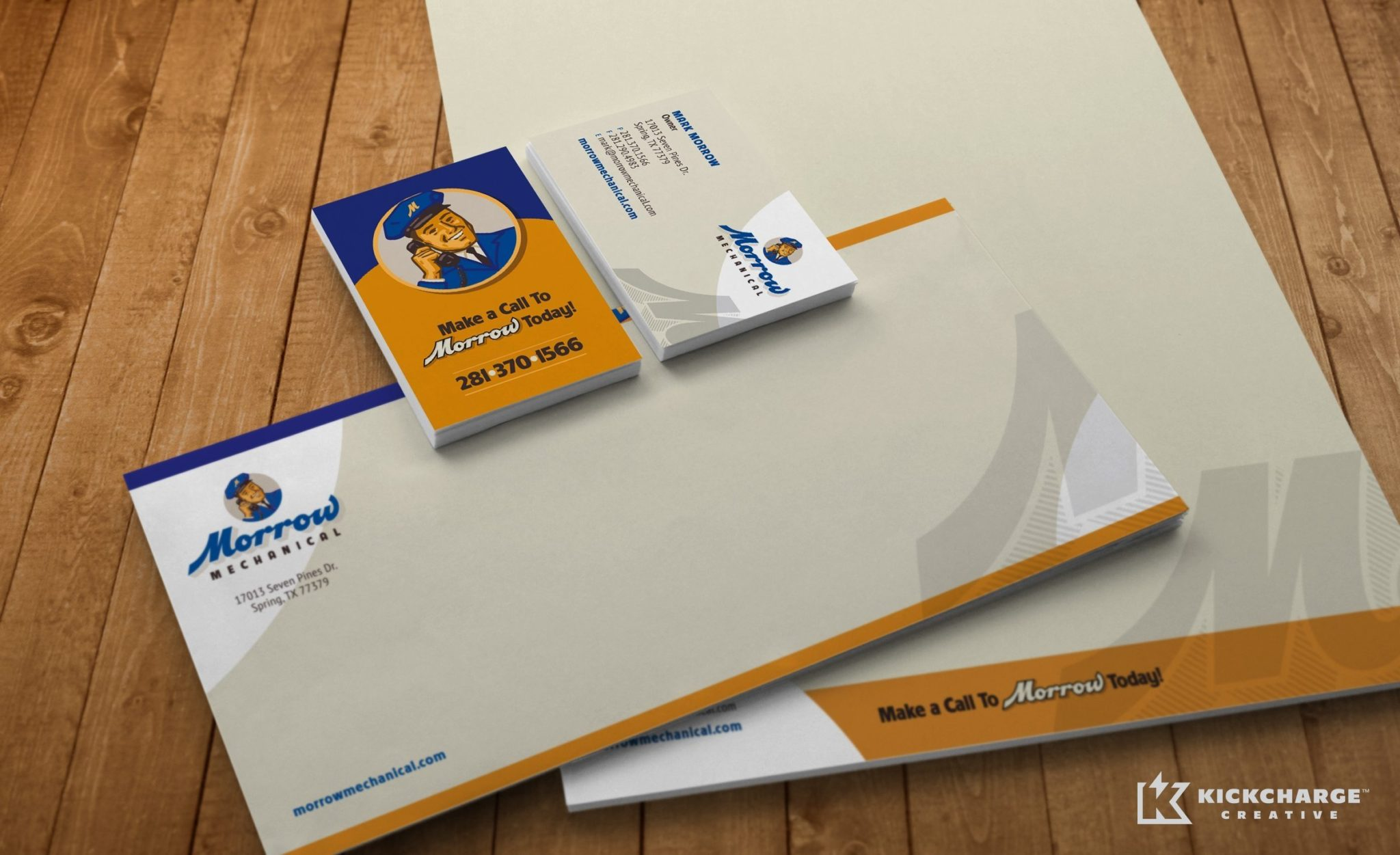 Stationery design for Morrow Mechanical located in Spring, TX.