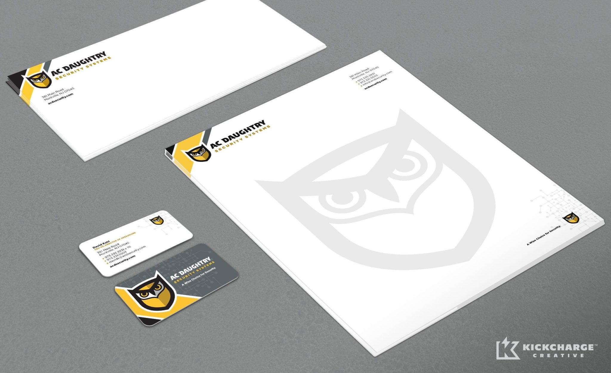 Stationery design for AC Daughtry, an NJ-based security company.