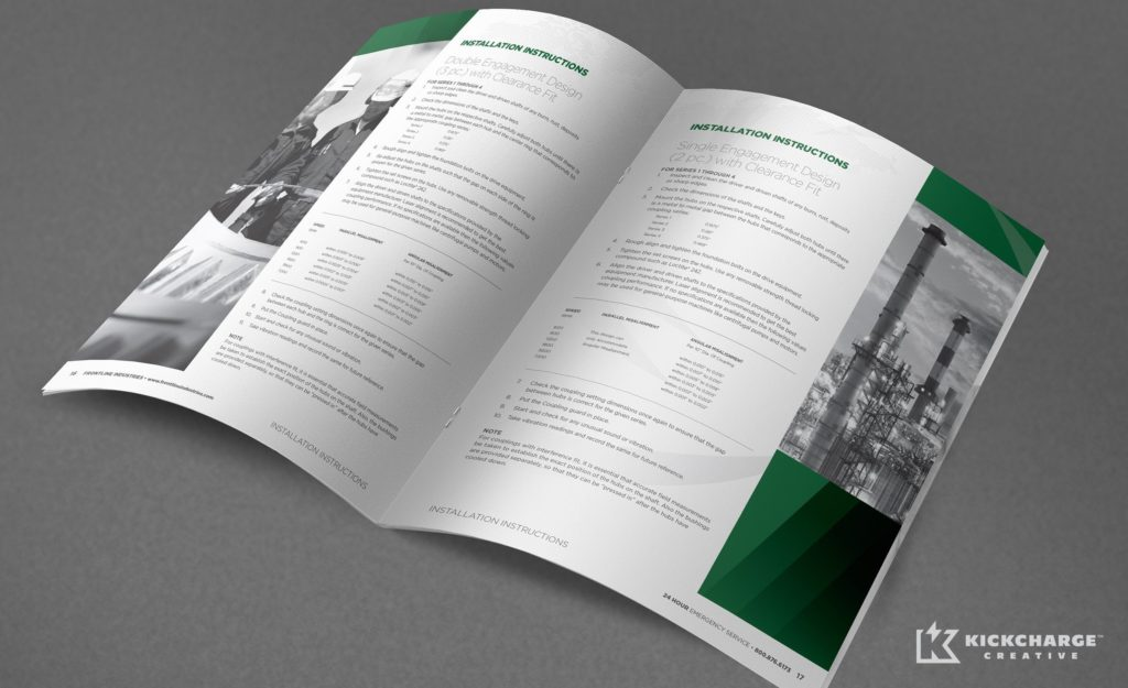 Brochure design for Frontline Industries, Inc., a professional service company in Irvington, New Jersey.