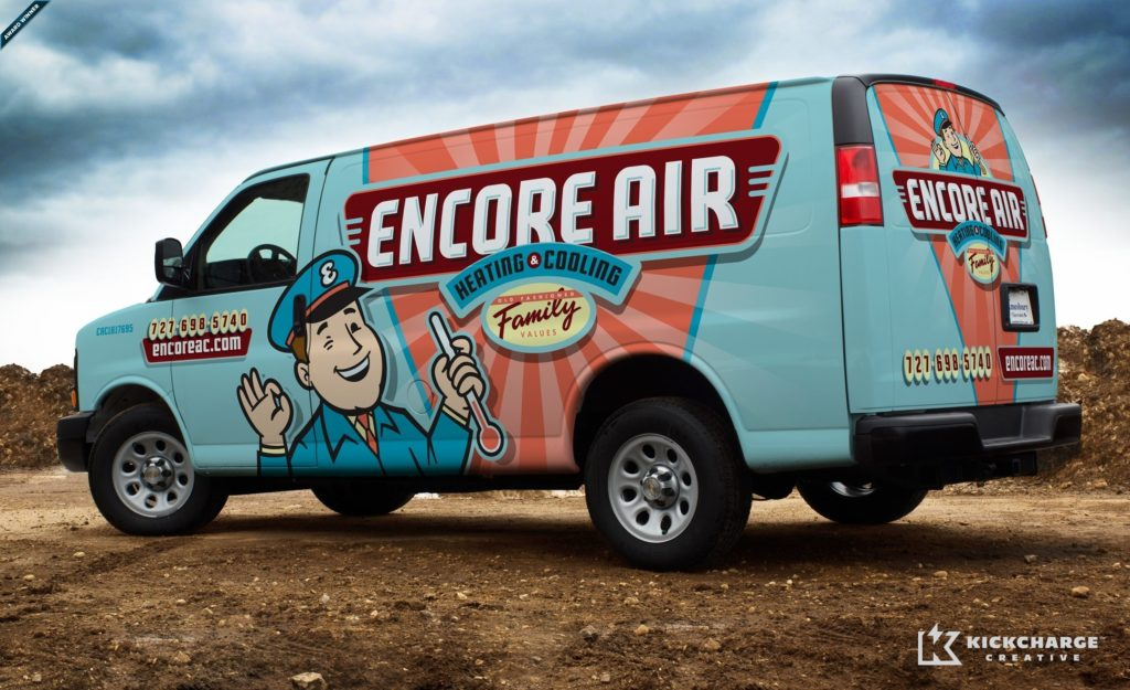 Award-winning vehicle wrap design for Encore Air Heating & Cooling, an HVAC company based in Largo, FL. This vehicle wrap won 2015 Vehicle Graphics Readers' Choice in the Signs of the Times 9th Annual Graphics Contest for service vehicles.